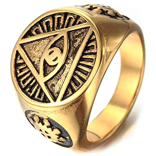 MENDINO Mens Triangle Pyramid Eye Symbol Gold Colour Stainless Steel Ring with Brands Pouch by MENDINO