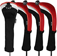 Andux 4pcs/Pack Long Neck Golf Hybrid Club Head Covers with Interchangeable No. Tag CTMT-02