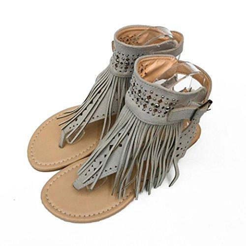 Transer® Damen Flach Toepost Sommer Stiefel Ankle-strap Braun Schwarz Grau Wildleder+Kunststoff Outdoor Sandalen mit Niet Quaste Gr. 35-43 Grau