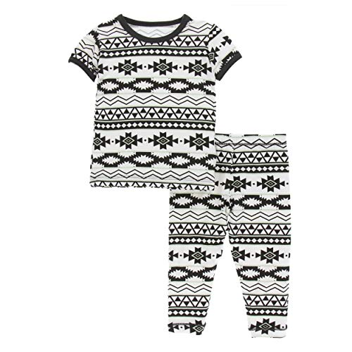 Kickee Pants Cancun Print S/S Pajama Set - Natural Mayan Pattern, 4T