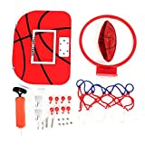 Mini Basketball Set, Adjustable Mini Basketball Hoop Wall-Mount Basketball Toy with Hanger Pump Installation Fittings for Home Children's Game