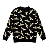 BOY London Unisex (S,M,L,XL) Silver Eagle Patteren Brushed Sweatshirt -Black-Gold,Black-Silver New_(BG4TL025) (Black-Gold, Medium)
