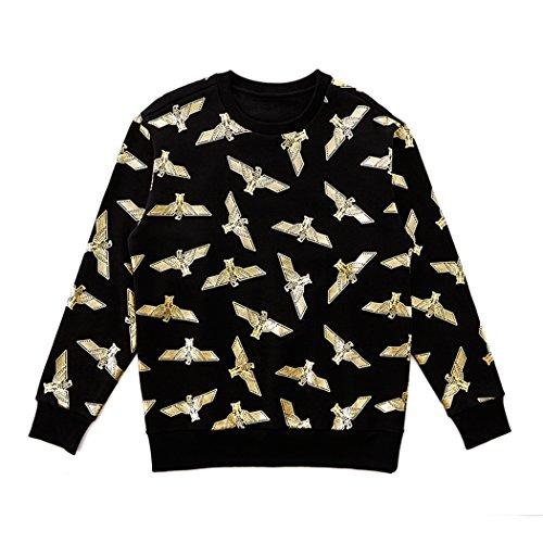 BOY London Unisex (S,M,L,XL) Silver Eagle Patteren Brushed Sweatshirt -Black-Gold,Black-Silver New_(BG4TL025) (Black-Gold, Medium) by BOY London