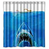 Big White Shark Underwater Movie Poster- Personalize Custom Bathroom Shower Curtain Waterproof Polyester Fabric 66(w)x72(h) Rings Included