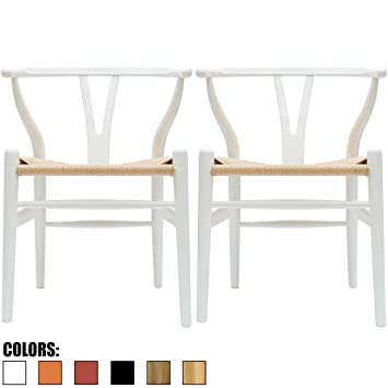 modern white dining room chairs. 2xhome - Set Of Two (2) White Wishbone Wood Arm Chair Armchair Modern Dining Room Chairs H
