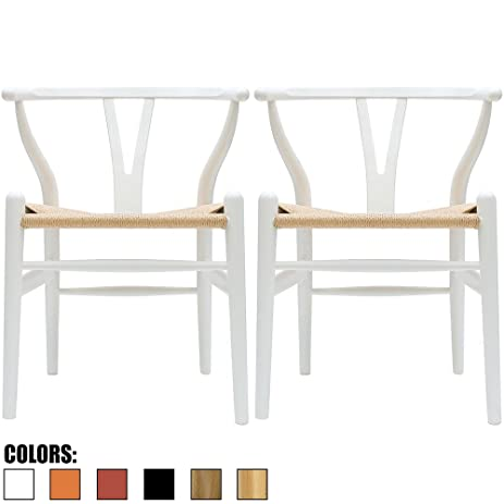 2xhome   Set Of Two (2)   White   Wishbone Wood Arm Chair Armchair
