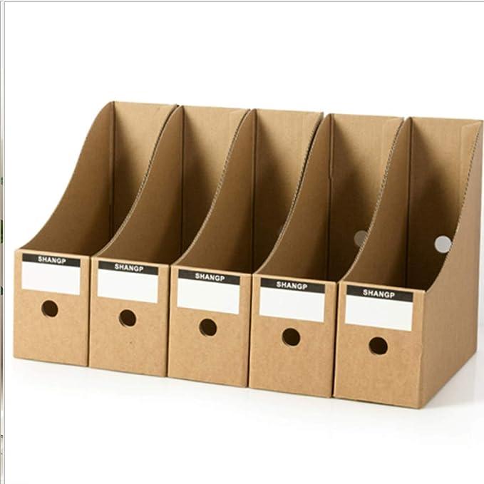 TXYJ Oficina 5 Niveles Caja de Almacenamiento de Escritorio de Papel Kraft A4 Organizador de Papel de Soporte de Documentos para Oficina en casa Caja de Almacenamiento de Archivos de Papel: Amazon.es: