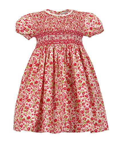 Carriage Boutique Girls Pink Floral Dress - Hand Smocked