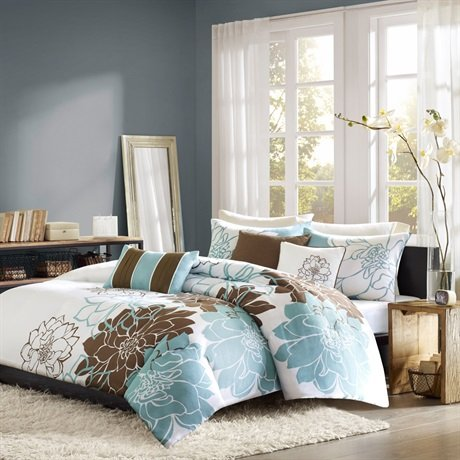 Madison Park Lola 6 Piece Printed Duvet Cover Set, King/ Cal King, Blue