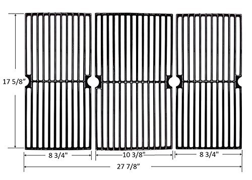 BBQ funland GI7233 GLOSS Porcelain coated Cast Iron Cooking Grid for Select Gas Grill Models By Brinkmann, Grill King and Others, Sold As A Set of (Porcelain Coated Grid)