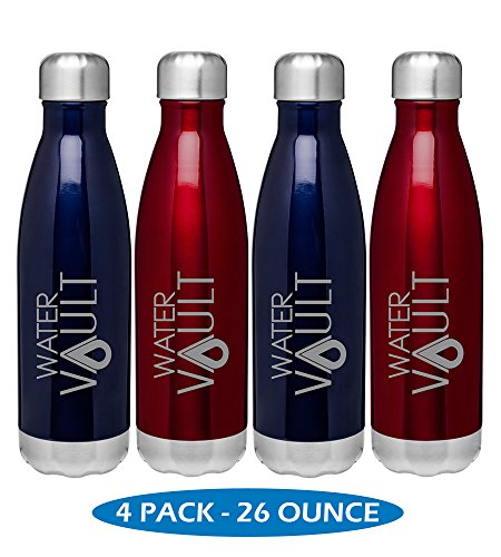 WaterVault Vacuum Insulated Water Bottles -18/8 Stainless Steel Thermos Bottle - Keeps Cold 24 Hours, Hot 12 Hours - Double Wall + Copper Thermo Technology, Assorted Colors & Sizes