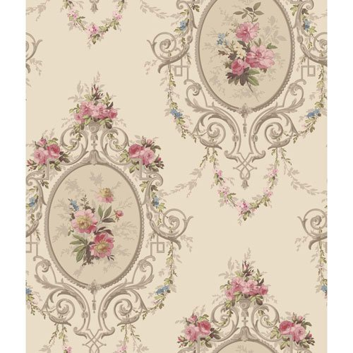 York Wallcoverings 120th Anniversary Pearlescent Gold and Taupe Neoclassic Cameo Wallpaper (Pearlescent Wallpaper)