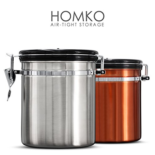 HOMKO Stainless Steel Coffee Canister Airtight Coffee Vault with co2 Valve - Kitchen Storage Container Box For Coffee Whole Beans Or Grounds (16oz, Silver) ()