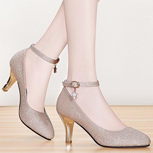 7 Palabra Hebilla Sexy Tacon Zapatos Una De Boca Zapatos Superficial De Zapatos Alto Cabeza Cm KPHY silvery Estilo Redonda Primavera Nuevo Mujer Tacon Temperamento 6wcqa7