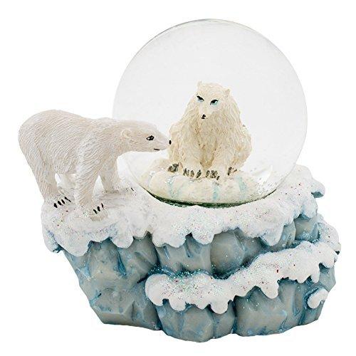 (Polar Bears 3 x 3 Miniature Resin Stone 45MM Water Globe Table Top)