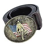 Homyl Fashion Mens Leather Belt Western Cowboy USA Flag Hip Hop Waist Jeans Belts - Coffee, 120cm