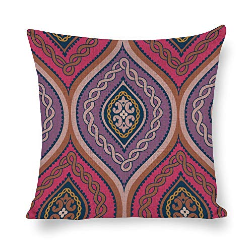 Welkoom Sofa Pillow Cases Pattern Throw Pillow Covers Psychedelic Art Symmetry Magenta Pink Cotton Linen Decorative Cushion -