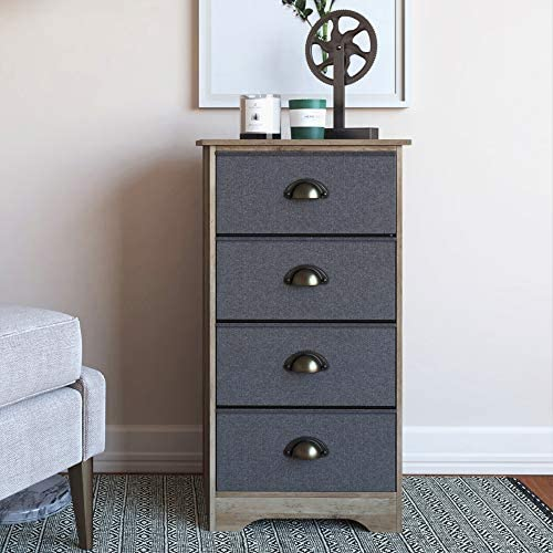 Nathan James Calvin Antique Dry Oak Bedroom Dresser Storage with Fabric, Gray