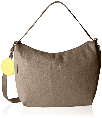 Mandarina Duck Mellow Leather Tracolla - Bolso de hombro Mujer Gris (Simply Taupe)