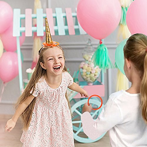 MISS FANTASY Unicorn Birthday Party Favor Games Unicorn Horn Headband Ring Toss Game for Girls Kids Party Activities
