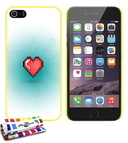Ultraflache weiche Schutzhülle APPLE IPHONE 5S / IPHONE SE [Herz-pixel-rot] [Gelb] von MUZZANO + STIFT und MICROFASERTUCH MUZZANO® GRATIS - Das ULTIMATIVE, ELEGANTE UND LANGLEBIGE Schutz-Case für Ihr