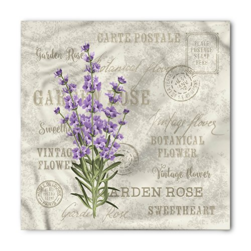Lunarable Lavender Bandana, Postcard Composition, Unisex Head and Neck Tie (Different Postcards)