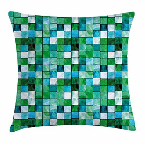 Lunarable Emerald Throw Pillow Cushion Cover, Geometric Mosaic Squares with Soft Aquatic Color Scheme Checkered Tile Pattern, Decorative Square Accent Pillow Case, 18 X 18 Inches, Blue Sea Green