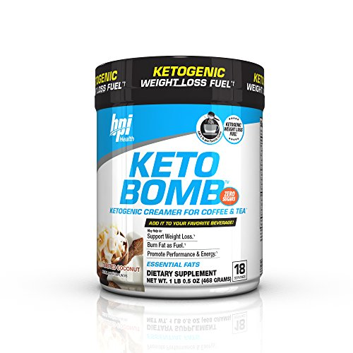 BPI Sports Keto Bomb Ketogenic Creamer for Coffee and Tea with MCT Oil, Saffron and Avocado Oil Powder to Support Weight Loss, Toasted Coconut, 18 Servings