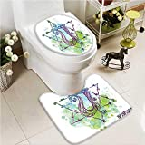 VROSELV Soft Toilet Rug 2 Pieces Set Brushstroke Inspired Lotus Pose Spots in the Body Faith and Harmony Machine-Washable