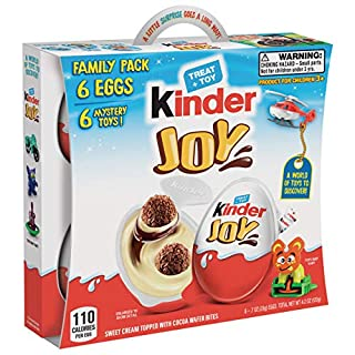 Kinder JOY Eggs, 6 Pack Individually Wrapped Chocolate Candy Eggs With Toys Inside, Perfect Surprise for Kids, 4.2 oz