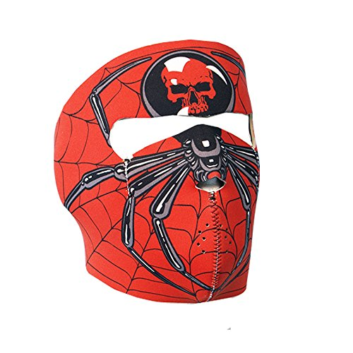 Hot Leathers Spider Neoprene Face Mask (Red)