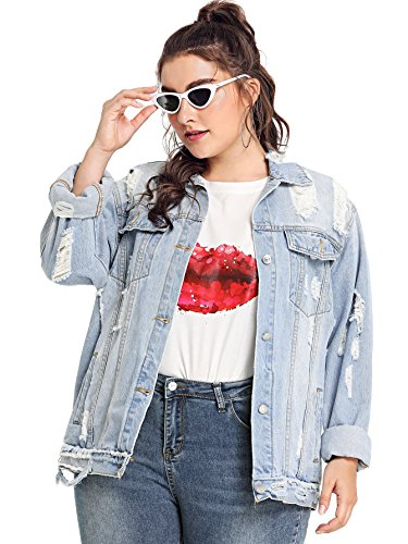 Floerns Women's Plus Size Ripped Distressed Long Sleeve Denim Jacket Blue 2XL