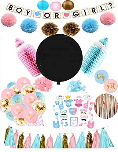 Gender Reveal Party Pack, Giant Reveal Balloon, All inclusive party supplies, photo booth, and Team Boy and Team Girl stickers. Pink Blue and Gold Color scheme