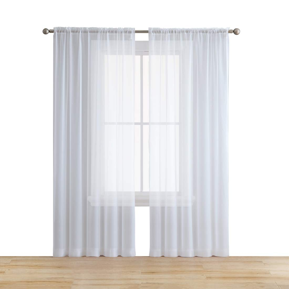 HLC.ME White 54'' inch x 84'' inch Sheer Curtains Window Voile Panels for Bedroom & Kitchen, Set of 2 by HLC.ME