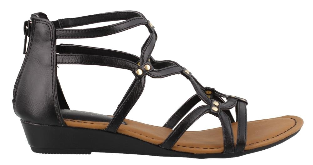 Women's Eurosoft, Mekelle Low Heel Gladiator Style Sandals Black 8 M