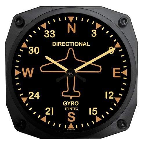 6' Vintage Aircraft Directional Gyro Wall Clock (Jet Airplane Clock)