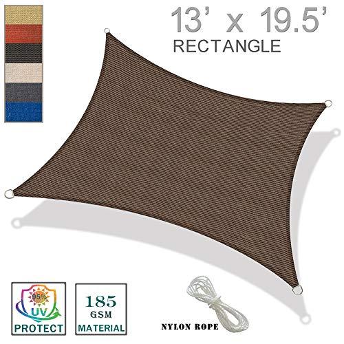 SUNNY GUARD 13′ x 19.5′ Brown Rectangle Sun Shade Sail UV Block for Outdoor Patio Garden