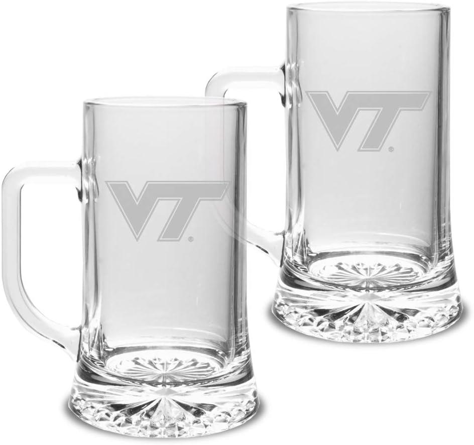 Set of 2 Clear 17.5 oz University Glass NCAA Virginia Tech Hokies Maxim Mug