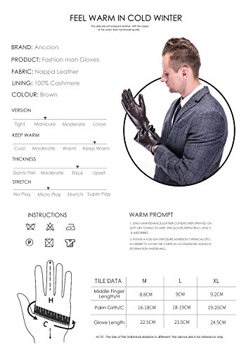 Leather Gloves for men,Anccion Best Touchscreen Winter Warm Italian Nappa Geniune Leather Gloves for Men's Texting Driving Cashmere/fleece Lining (Large, Brown) by Anccion (Image #2)