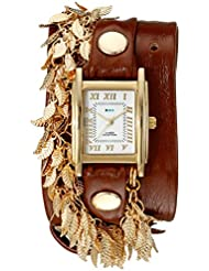 La Mer Collections Womens LMCW9002 Gold Multi Leaf Charms Wrap Watch