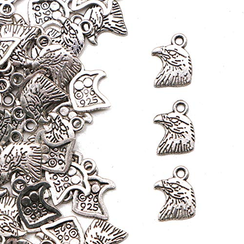 JETEHO 100pcs Antique Silver Eagle Head Charms Eagle Hawk Head for Jewelry Making