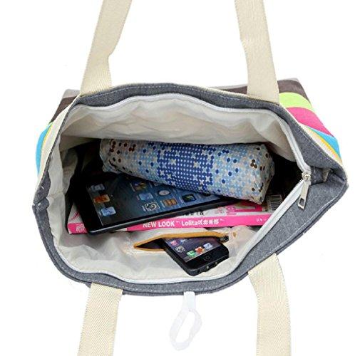 de monedero rosa Hombro bolsa caliente Sannysis® de Rayas colores bolso mano de de caqui mano; compras; del wxUHPzUZqn