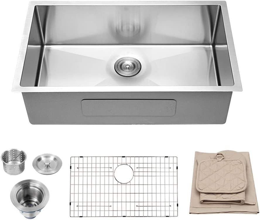 Lordear 30 inch Kitchen Sink Undermount 16 Gauge Deep Single Bowl Stainless Steel Kitchen Undermount Sink Basin
