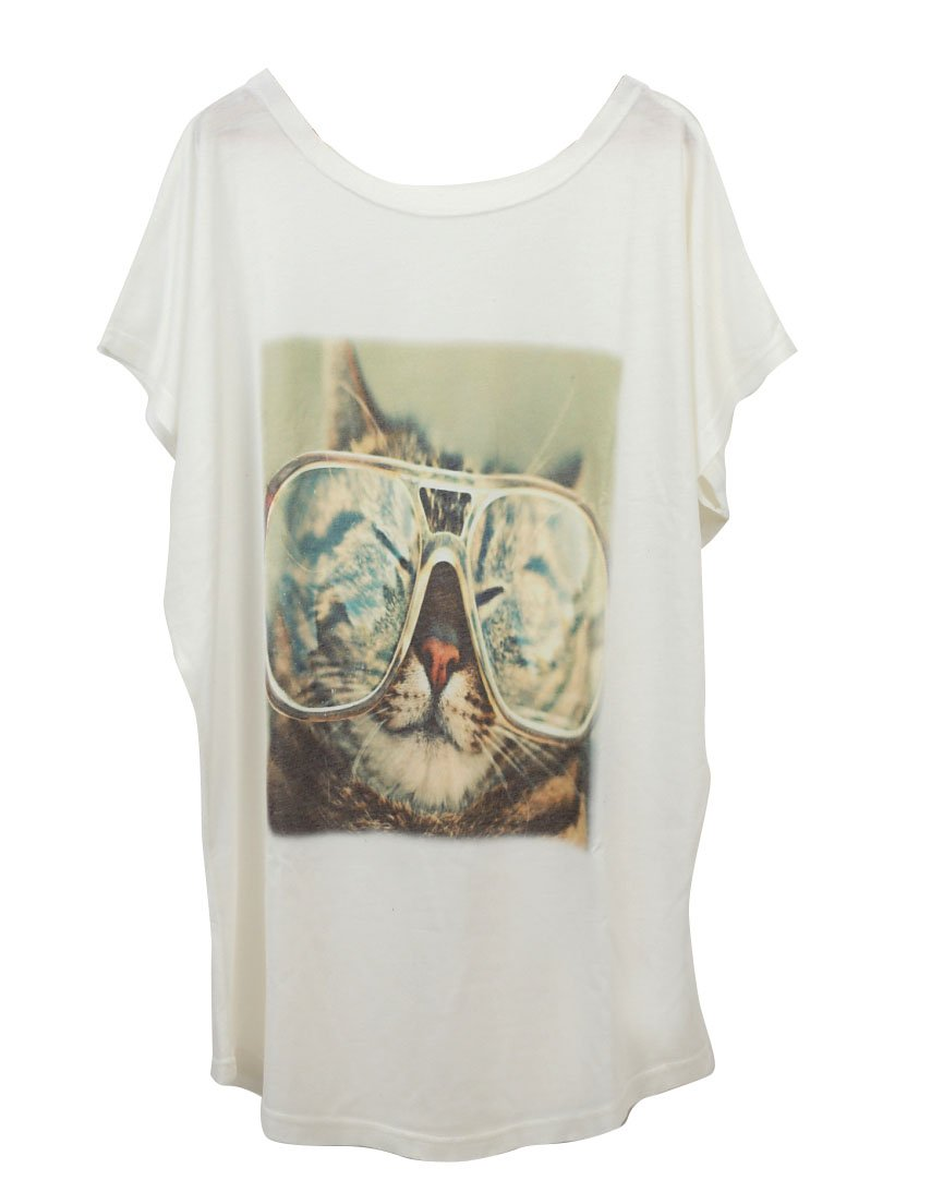 Nite closet Cat Long Shirt for Women Funny Tshirts Short Sleeve Eyeglass