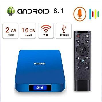 KGAYUC Smart TV Box, Android 8.1 TV Box RK3338 CPU De Cuatro Núcleos, Compatible con 4K 75Fps Ultra HD/H.265 WiFi 2.4Ghz WiFi Reproductor Multimedia Y Control Remoto por Voz [2GB + 16GB]: