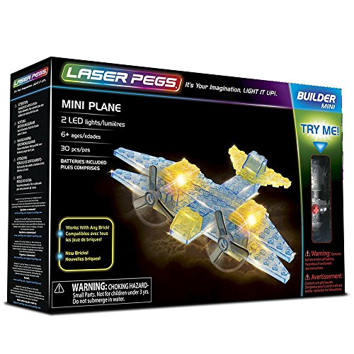 Laser Pegs Mini Plane Building Set Building Kit; The First Lighted Construction Toy to Ignite Your Child's Creativity; It's Your Imagination, Light It Up
