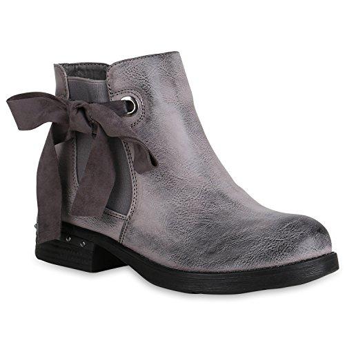 Stiefelparadies Damen Stiefeletten Chelsea Boots Zipper Leder-Optik Schuhe Nieten Metallic Lack Glitzer Blockabsatz Booties Profilsohle Flandell Grau Nieten