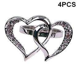 Silver Double Heart Napkin Ring With Rhinestones