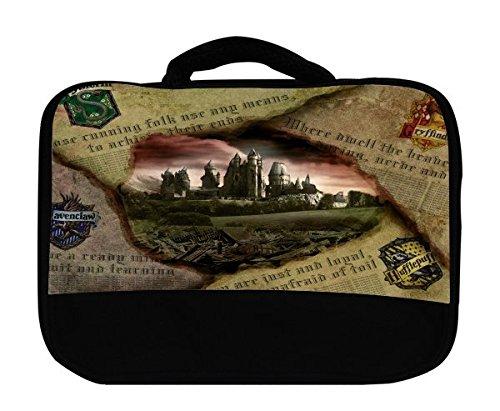 Hufflepuff Gryffindor Hogwarts Slytherin Ravenclaw Newspaper Design Pattern Print Canvas Lunch Bag by Trendy Accessories