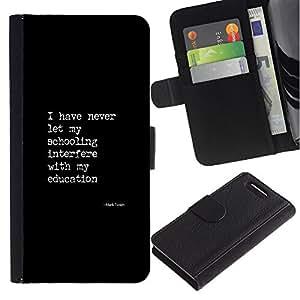 KingStore / Leather Etui en cuir / Sony Xperia Z1 Compact D5503 / Texte Affiche Citation Education